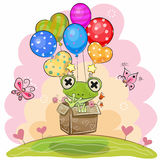 Cute Frog with balloons. Cute Cartoon Frog in the box is flying on balloons vector illustration