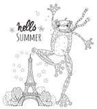 Cute Frog Boy in Paris.Vector illustration stock illustration