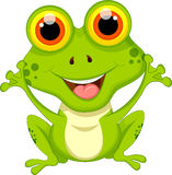 Cute frog cartoon sitting for you design Royalty Free Stock Photos