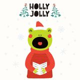 Cute frog Christmas card vector illustration