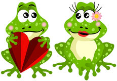 Cute frog couple holding red heart. Scalable vectorial image representing a cute frog couple holding red heart, isolated on white Stock Photography
