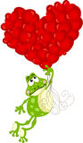 Cute frog flying with heart balloons Royalty Free Stock Photography