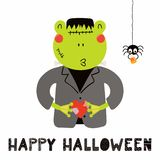 Cute frog in Halloween costume. Hand drawn vector illustration of a cute funny frog in a Frankenstein monster costume, with text Happy Halloween. Isolated royalty free illustration
