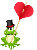 Cute frog holding heart Royalty Free Stock Photo