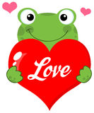 Cute frog holding a heart with text. Green frog holding a red love valentine heart Stock Photo