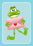 Cute frog holding love envelope. Scalable vectorial image representing a cute frog holding love envelope on blue bacground Stock Photos