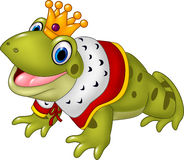 Cute frog king isolated on white background Royalty Free Stock Images