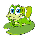 Cute Frog On A Lily Pad. Hand drawn cartoon frog relaxing on a lily pad Royalty Free Stock Photos
