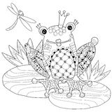 Cute Frog Prince in crown with lotus. Stock Photos