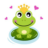 Cute Frog prince with hearts Stock Images