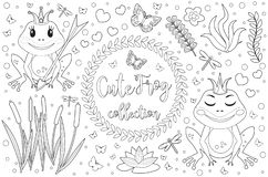 Cute frog princess Coloring book page for kids. Collection of design element with marsh reeds, flowers, plants royalty free illustration