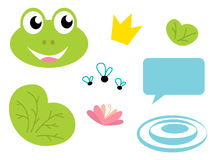 Cute Frog queen icons - isolated on white Stock Images