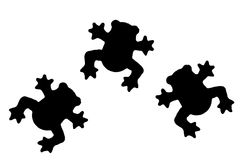 Cute frog shaped silhouettes Stock Photos