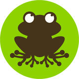 Cute Frog Silhouette. Cute Cartoon Little Frog in Silhouette - Vector Illustration Stock Image