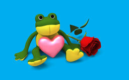 Cute frog sitting with pink heart Stock Images