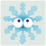 Cute frozen Christmas snowflake character. Vector illustration of a cute faced snowflake Stock Images