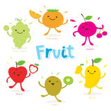 Cute Fruit Cartoon Vector Royalty Free Stock Photography