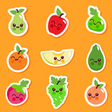 Cute fruit character sticker set. Vector illustration sticker set of cute cartoon fruit characters Stock Photography