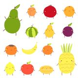 Cute fruit characters including avocado, apricot, garnet, watermelon, pear, plum, banana vector illustration