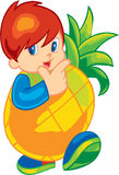 Cute Fruit Kid Stock Photo