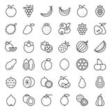 Cute Fruit Outline Icon Set Royalty Free Stock Photo