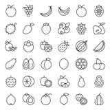 Cute fruit outline icon set royalty free illustration