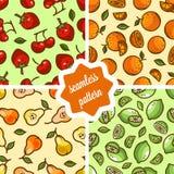 Cute fruit patterns set Stock Image