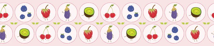 Cute fruit polka dot vector illustration. Seamless repeating border. vector illustration