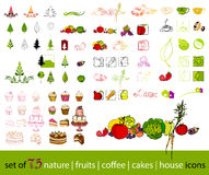 Cute fruit,vegetable, coffee and nature icons Royalty Free Stock Images