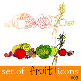 Cute fruit and vegetable icons Stock Photos