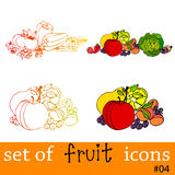 Cute fruit and vegetable icons Stock Image