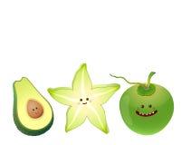 Cute fruits-avocado, star fruit, coconut Stock Photos