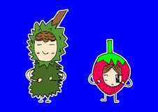 Cute fruits cartoon Stock Images