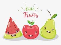 Cute Fruits Cartoons Royalty Free Stock Photo