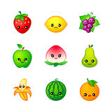 Cute fruits icons Stock Photo