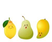 Cute fruits-lemon, pear, mango Stock Photo