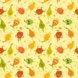 Cute fruits pattern. Seamless pattern with funny pears and apples with colorful spots Stock Image