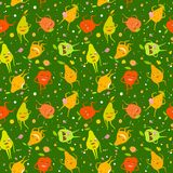 Cute fruits pattern. Seamless pattern with funny pears and apples with colorful spots on green background Royalty Free Stock Photo