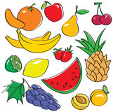 Cute fruits set. (vector illustration Stock Photography