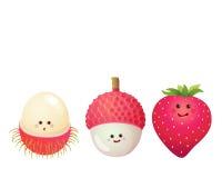 Cute fruits-strawberry, lychee, litchi, rambutan Royalty Free Stock Photography