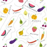 Cute fruits and vegetables seamless pattern. royalty free illustration