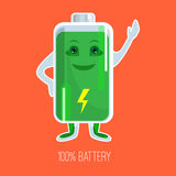 Cute full charged battery cartoon character with hands and face Stock Photo