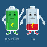 Cute full and low charged batteries in flat design Royalty Free Stock Image