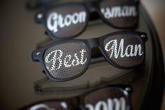 Cute and fun best man wedding sun Glasses. Cute and fun wedding sun Glasses Stock Photo