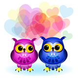 Cartoon owls in love on white Royalty Free Stock Image
