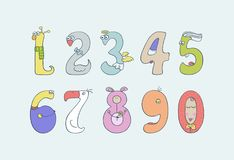 Cute and fun children`s numbers. Set of cute and fun animalistic colored numbers for childrens Royalty Free Stock Photography