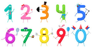 Cute fun colorful collection numbers in the form of various cartoon. Characters for kids isolated. Vector Illustration mathematical symbols one, two, three Vector Illustration