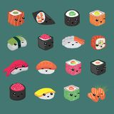 Cute and fun japanese sushi vector cartoon characters. Illustration of roll and sushi with face collection stock illustration