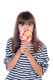 Cute fun little girl holding big lolly pop Royalty Free Stock Images