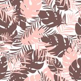 Cute and fun summer seamless pattern. Tropical leaves. Stylish background, textile or wrapping paper design. Vector illustration. eps10 Stock Photography